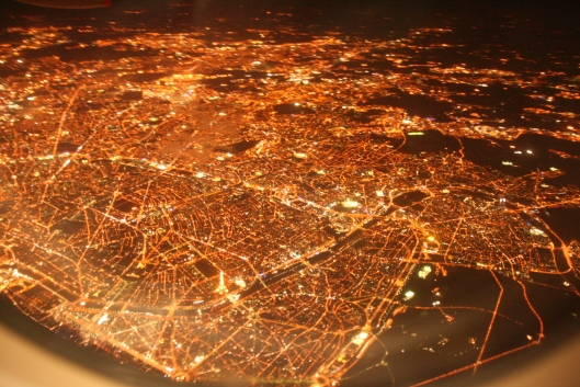 Paris from airplane
