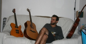 Guitars on a couch