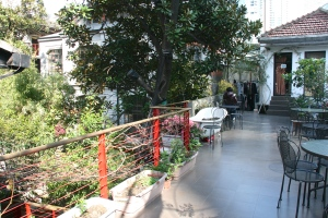 The quiet terrace at Mingtown Youth Hostel in Shanghai